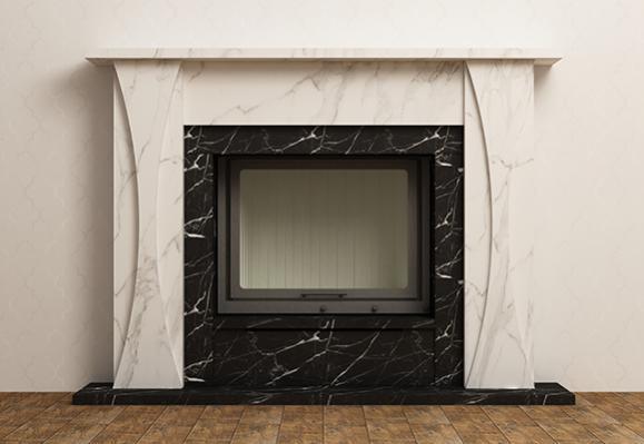 habillage cheminée en marbre